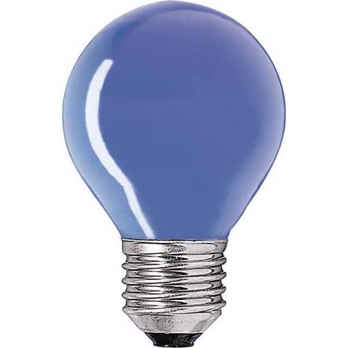 PHILIPS klasická žárovka 15W E27 modrá barevná Partytone