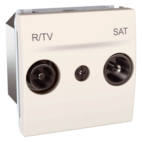 Schneider UNICA zásuv.anténní TV/R-SAT MARFIL;  MGU345625 (MGU3.456.25) průchozí