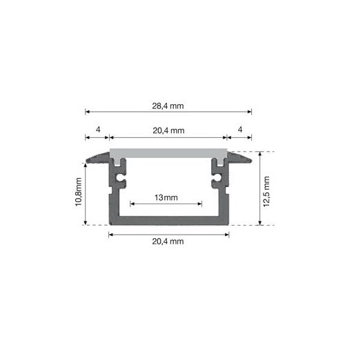 DURALAMP zapuštěný profil pro upevnění LED pásky IP68 1ks=2m