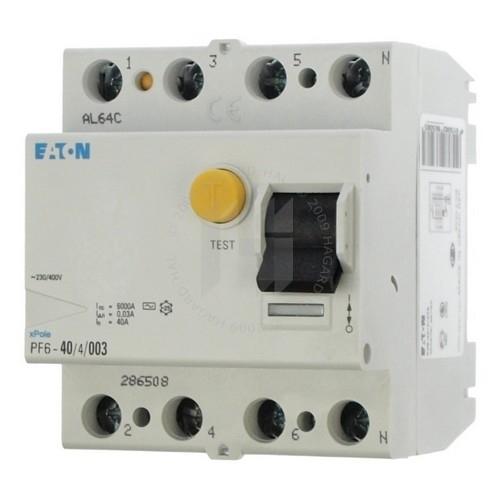 EATON proudový chránič 4P 40A 0.03A 6kA; PF6-40/4/003 286508 chránič čtyřpólový
