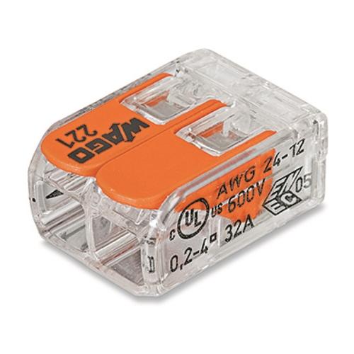 WAGO 221-412 svorka s páčkou 2x0.14-4 mm2 transp./oranž.