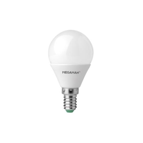 MEGAMAN E14 5.5W 4000K 470lm náhrada 40W ; LED kapková žárovka P45 opál
