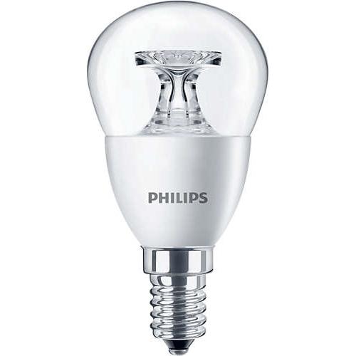 PHILIPS E14 5.5W 2700K 470lm náhrada 40W; LED kapková žárovka P45 cira