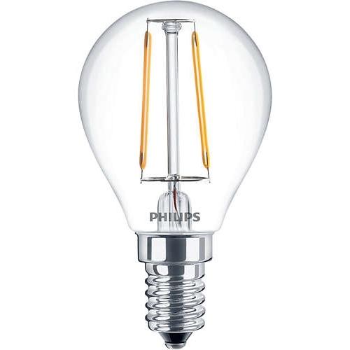 PHILIPS E14 2.3W 2700K 250lm náhrada 25W; LED kapková žárovka P45 cira
