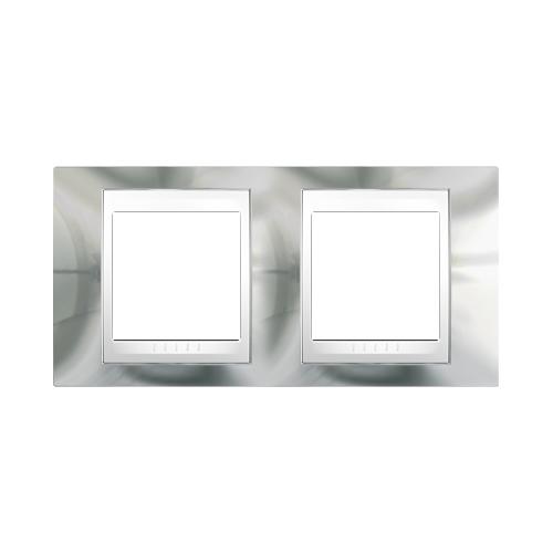 Krycí rámeček Plus dvojnásobný, cromo/polar, Schneider