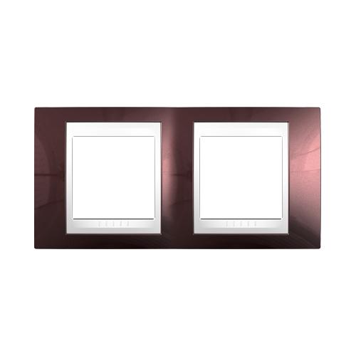 Krycí rámeček Plus dvojnásobný, teracota/polar, Schneider