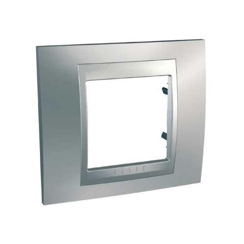 Krycí rámeček Top jednonásobný, chrome mat./aluminium, Schneider
