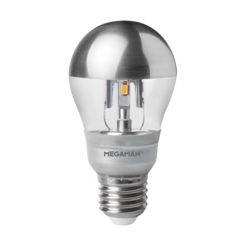 MEGAMAN E27 5W 2800K 200lm náhrada 20W stříbrný vrchlík; LED žárovka A55 LS0405d