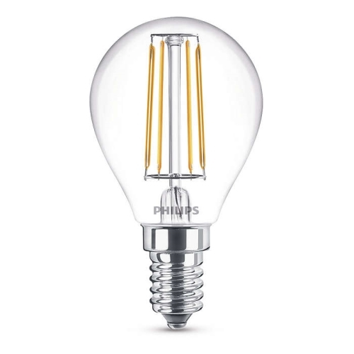 PHILIPS E14 4W 2700K 470lm náhrada 40W; LED kapková žárovka P45 NonDim