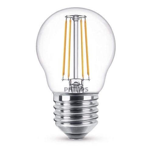 PHILIPS E27 4W 2700K 470lm náhrada 40W; LED kapková žárovka P45 NonDim