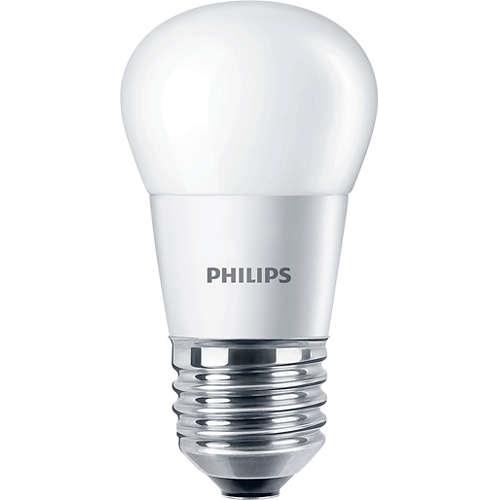 PHILIPS E27 5.5W 2700K 470lm náhrada 40W; LED kapková žárovka P45 opál