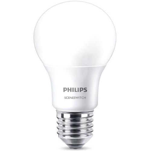 PHILIPS E27 8W 2700/2500/2200K 806lm náhrada 60W; LED žárovka A60 SceneSwitch