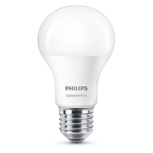 PHILIPS E27 9.5W 2700/4000K 806lm náhrada 60W; LED žárovka A60 SceneSwitch
