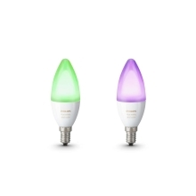 PHILIPS HUE LED žárovka B39 6.5W 2200-6500K/RGB Dim 25Y set-2ks