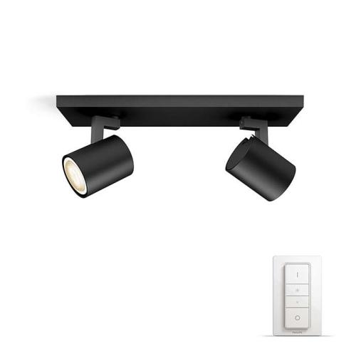 PHILIPS HUE přisazené svítidlo LED RUNNER 2x5,5W GU10; černá + HUE přepínač