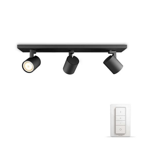 PHILIPS HUE přisazené svítidlo LED RUNNER 3x5,5W GU10; černá + HUE přepínač