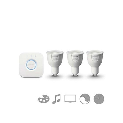 PHILIPS HUE starter kit; brána + 3x refl. PAR16 6.5W/NIL GU10 RGB 250lm Dim 25Y