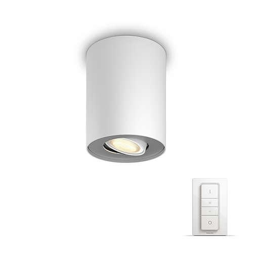 PHILIPS HUE stropní svítidlo LED PILLAR 1x5,5W GU10; bílá + HUE přepínač