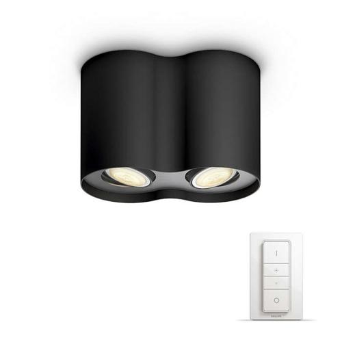PHILIPS HUE stropní svítidlo LED PILLAR 2x5,5W GU10; černá + HUE přepínač