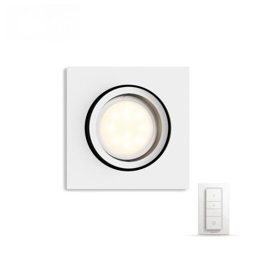 PHILIPS HUE vestavěné svítidlo LED MILLISKIN 1x5,5W GU10; bílá + HUE přepínač