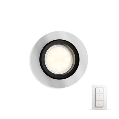 PHILIPS HUE vestavěné svítidlo LED MILLSKIN 1x5,5 GU10; hliník + HUE přepínač