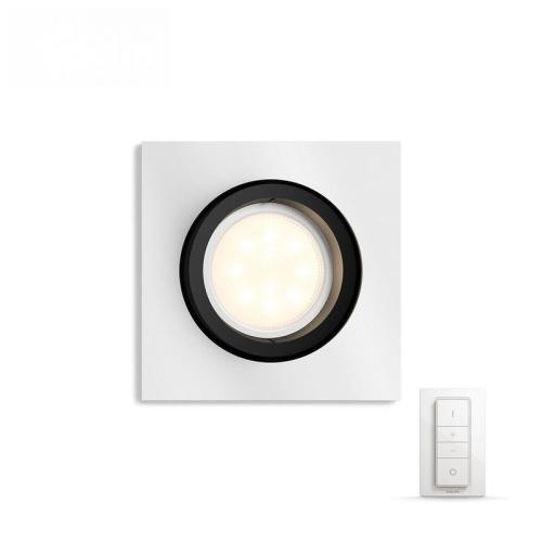 PHILIPS HUE vestavěné svítidlo LED MILLSKIN 1x5,5W GU10; hliník +HUE přepínač