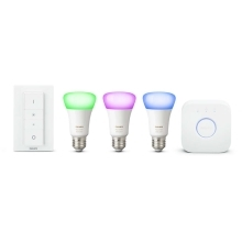 PHILIPS HUE W&C.AMBIANCE starter kit; brána+switch+3xA60 10W/60W E27 RGB 25Y