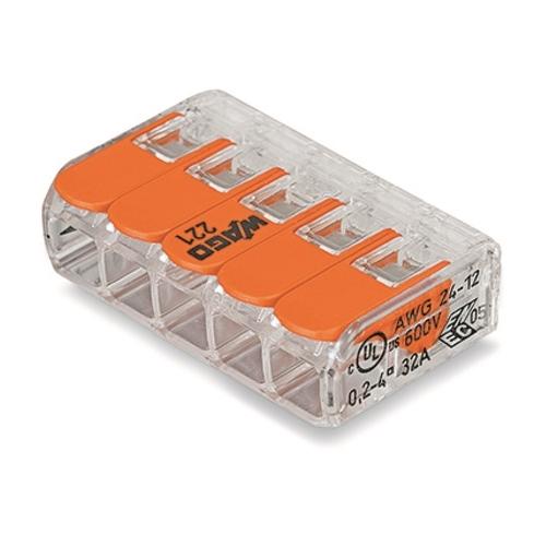 WAGO 221-415 svorka s páčkou 5x0.14-4 mm2 transp./oranž.