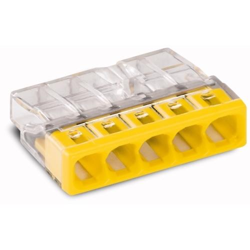 WAGO 2273-205 svorka krabicova 5x0.5-2.5 mm2 transp./žlutá