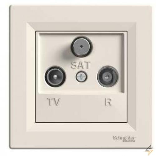 Zásuvka průběžná TV-R-SAT, krémová, Schneider